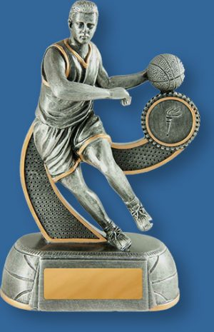 Male Basketball Trophy. Antique Silver Dribbling Action.