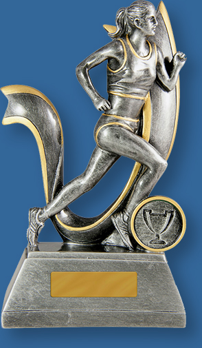Antique Silver with gold trim Resin Trophy with Female Sprinter action.727-17F_e