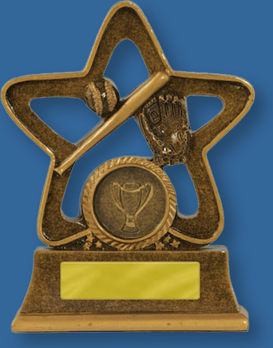 Baseball Trophies Holy Star Series, Bronze generic resin baseball trophy with glove ball and bat detail