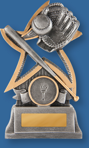 Baseball Trophies. Antique silver with gold trim generic resin baseball trophy with glove ball and bat detail