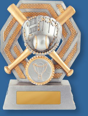Antique silver with gold trim generic resin baseball trophy with glove ball and bat detail.