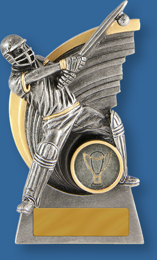 Cricket Trophies Kaboom Batsman . ntique silver resin trophy. Sweep shot detail.