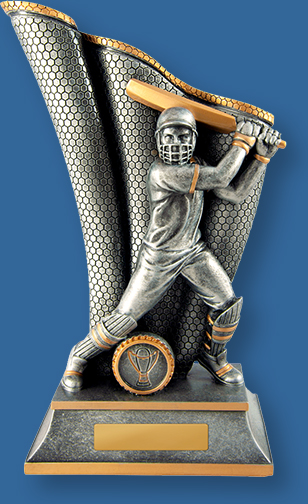 Antique Silver and Gold generic resin cricket trophy with batsman