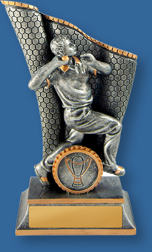 Cricket Trophies Wave Series. Antique Silver and Gold generic resin trophy with bowler.