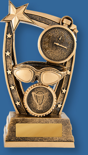 Bronze generic resin swimming trophy with stopwatch, goggles star detail.
