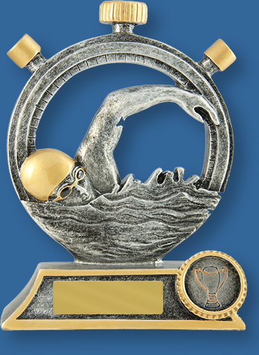 Antique silver with gold trim generic resin swimming trophy with stopwatch and stylised swimmer detail