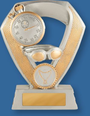 Antique silver with gold trim generic resin swimming trophy with stopwatch and stylised swimmer detail.