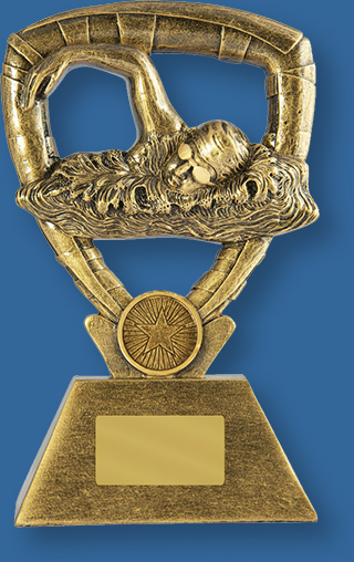 Gold Resin Generic Trophy with Freestyle Swimmer detail.