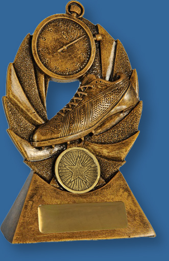 Gold resin trophy with boot and stopwatch. Bronze tone theme.