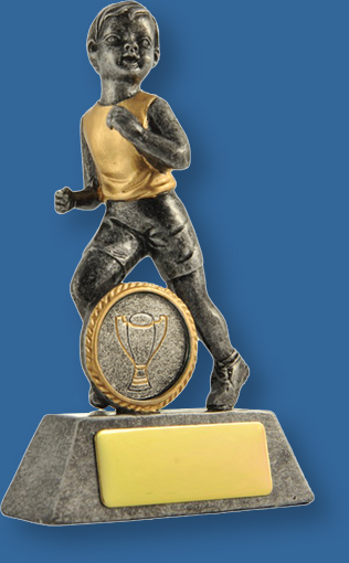 Silver with gold trim resin trophy with little boy running. Athletics Trophies Male Little Champs Series