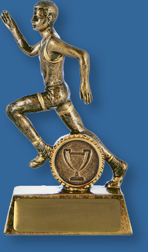Gold resin trophy with male running action. Athletics Trophy Male Resin. Action Hero
