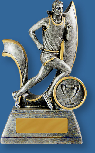 Antique Silver with gold trim Resin Trophy with male sprinter action.