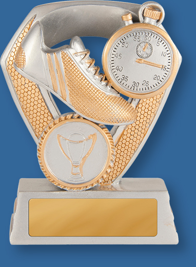 Antique silver with gold trim resin with boot and stopwatch. Athletics Trophy Generic Resin. Track Shield Series. Can be engraved
