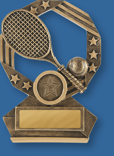Gold with bronze tone resin trophy with racket and ball