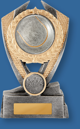 Silver with gold trim resin trophy with ball