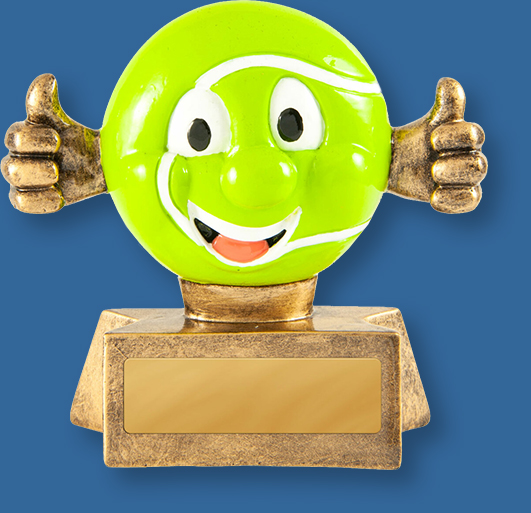 Gold resin with smiling tennis ball figure