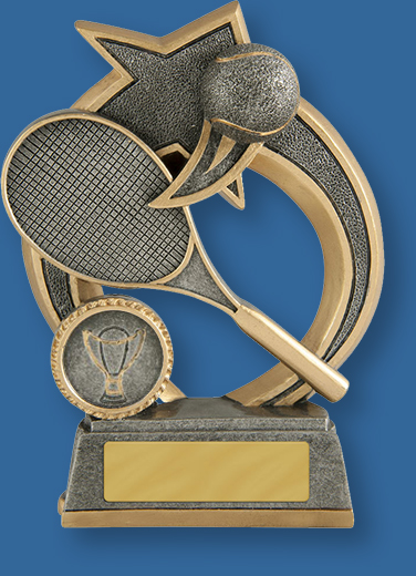 Silver with gold trim resin trophy with racket and ball
