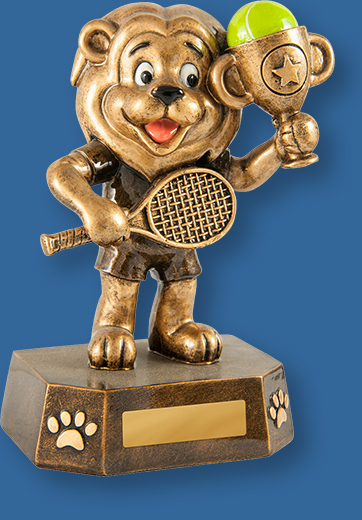 Gold resin trophy with lion figure with racket and trophy cup
