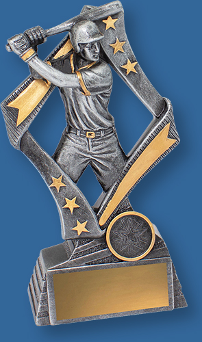 Antique Silver Baseball Trophy with gold highlights and Batter action detail.