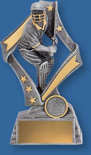 Cricket Batsman Trophy Flag Series. Antique Silver and gold trim with Batting action