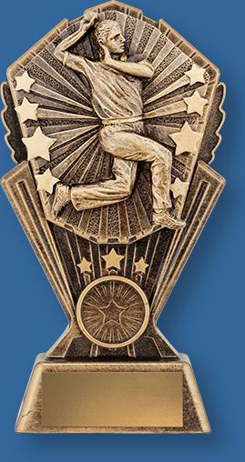 Cricket Bowler Trophy Cosmos Series. Bronze Cricket Bowler Figure on riser.