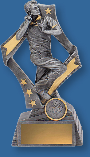 Cricket Bowler Trophy Flag Series TC Antique Silver and gold trim with Bowling action.