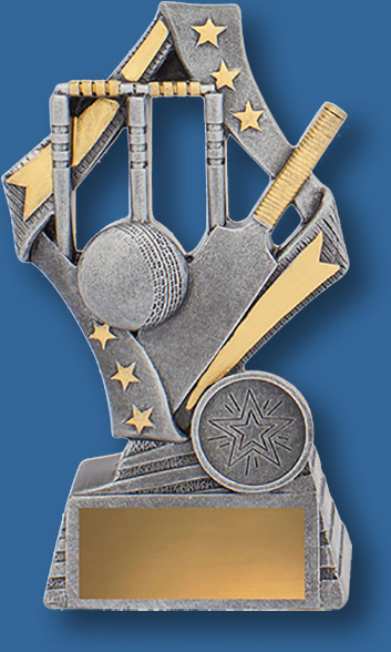 Cricket Theme Trophy Flag Series. Antique Silver and gold trim with bat ball and stumps detail.