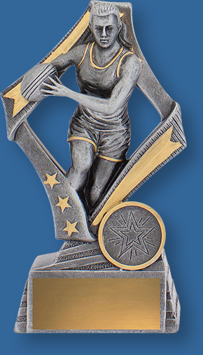 Antique Silver Female Touch Football Trophy with gold highlights and Running Player with ball action detail.