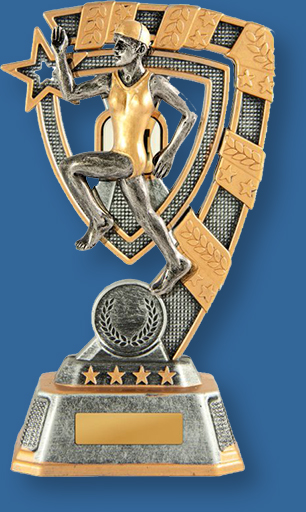 Silver and Gold Resin Male Surf Life Saving Trophy with female beach sprint detail.