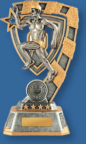 Silver and Gold Resin Male Surf Life Saving Trophy with male beach sprint detail.