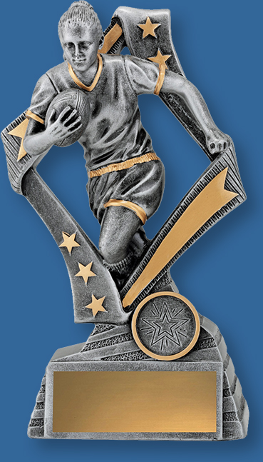 Rugby Trophy Female Resin. Flag Series. Can be engraved. Antique Silver Tone with Gold Trim. Running action with ball on chest.