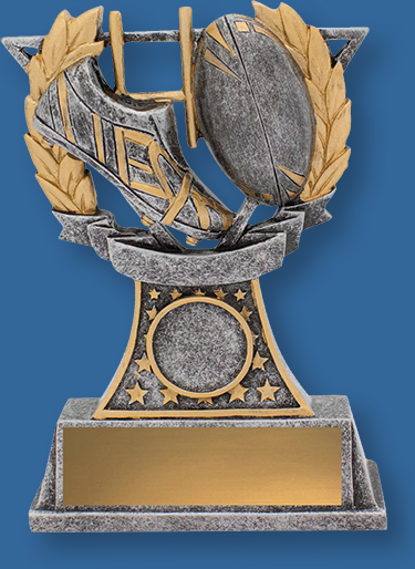 Rugby Trophy Generic Resin. Rugby Classic Style. Can be engraved. Gold Tone with ball and Boot Detail.