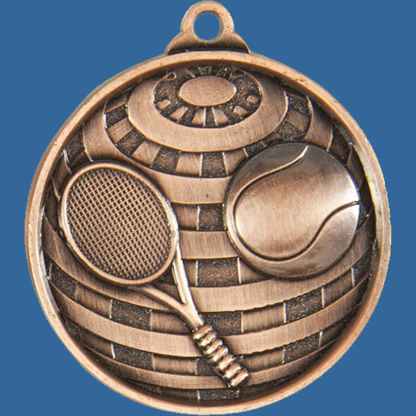 Tennis Global Series Medal - 5mm Thick Antique Bronze 50mm Medal Neck Ribbon included