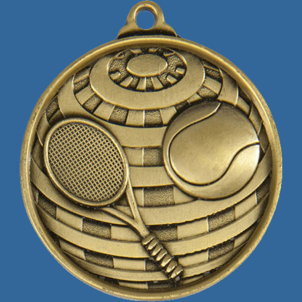 Tennis Global Series Medal - 5mm Thick Antique Gold 50mm Medal Neck Ribbon included