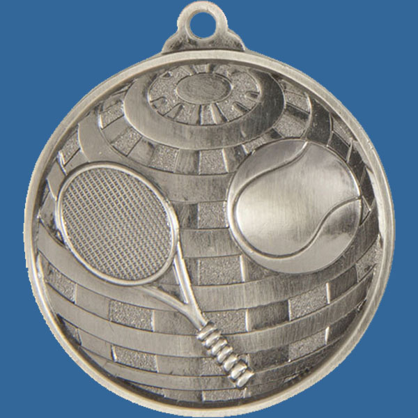 Tennis Global Series Medal - 5mm Thick Antique Silver 50mm Medal Neck Ribbon included