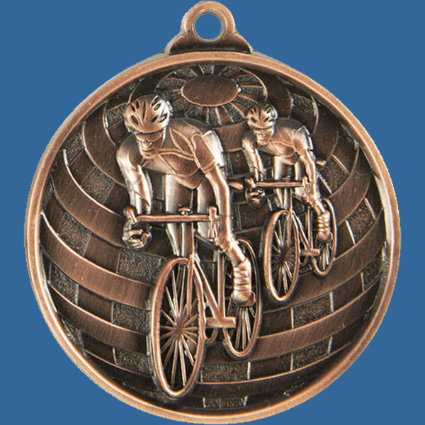 Cycling Global Series Medal - 5mm Thick Antique Bronze 50mm Medal Neck Ribbon included