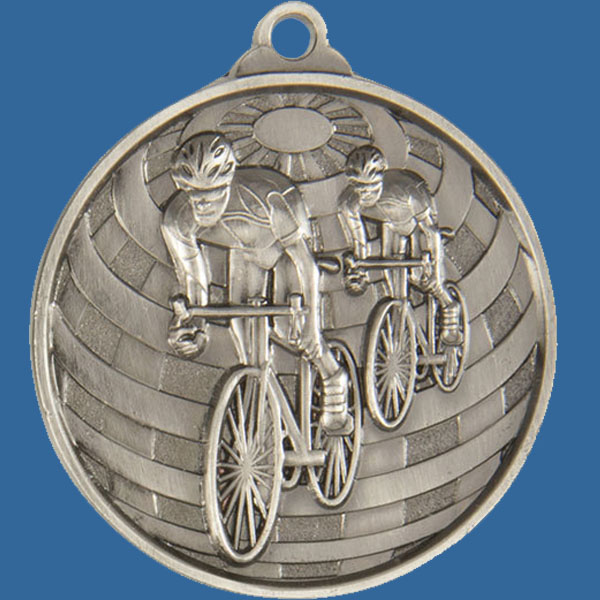 Cycling Global Series Medal - 5mm Thick Antique Silver 50mm Medal Neck Ribbon included