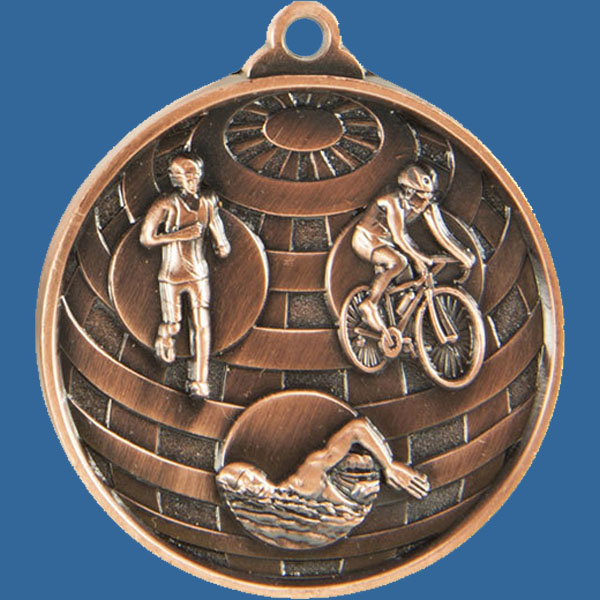 Triathlon Global Series Medal - 5mm Thick Antique Bronze 50mm Medal Neck Ribbon included