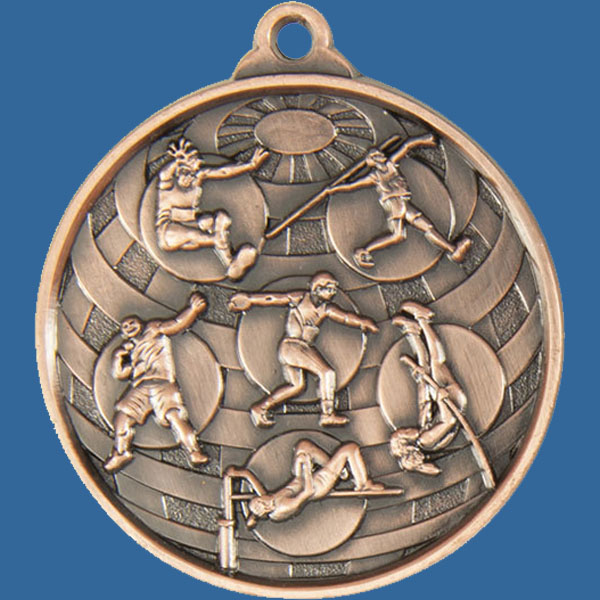 Athletic Field Global Series Medal - 5mm Thick Antique Bronze 50mm Medal Neck Ribbon included