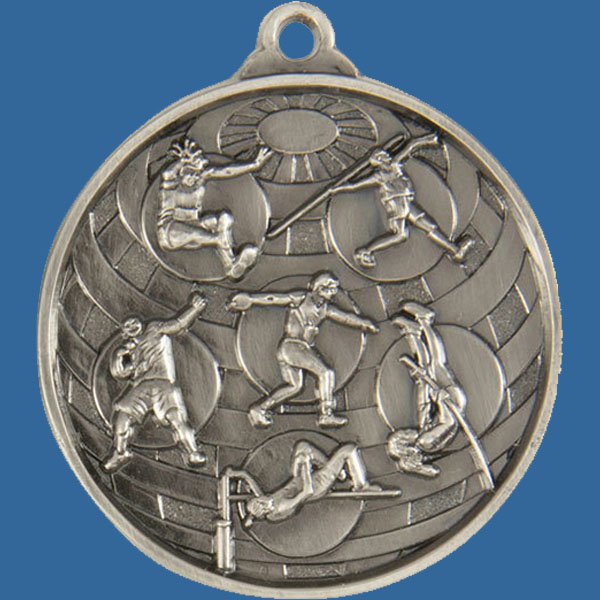Athletic Field Global Series Medal - 5mm Thick Antique Silver 50mm Medal Neck Ribbon included