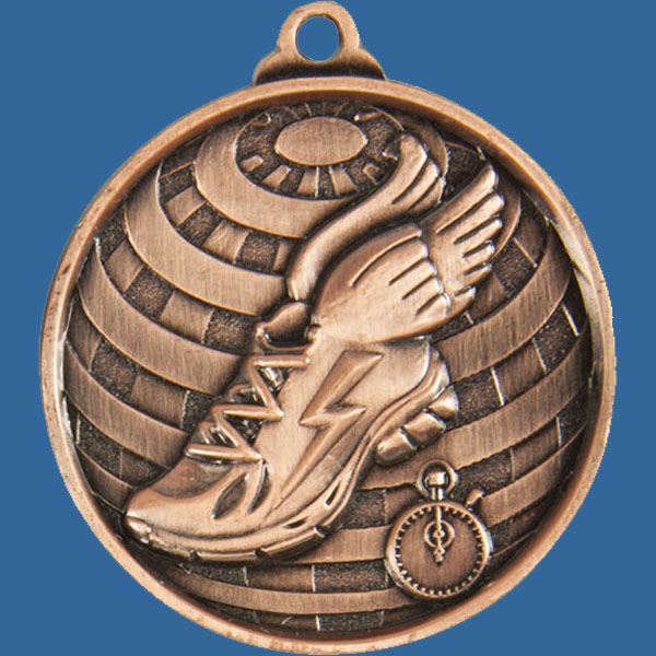 Athletic Global Series Medal - 5mm Thick Antique Bronze 50mm Medal Neck Ribbon included