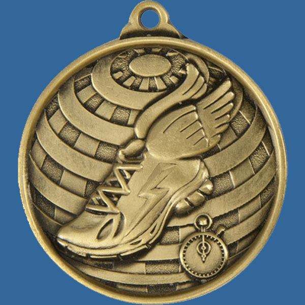 Athletic Global Series Medal - 5mm Thick Antique Gold 50mm Medal Neck Ribbon included