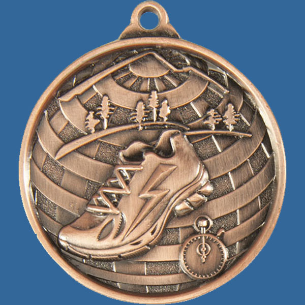 Cross Country Global Series Medal - 5mm Thick Antique Bronze 50mm Medal Neck Ribbon included