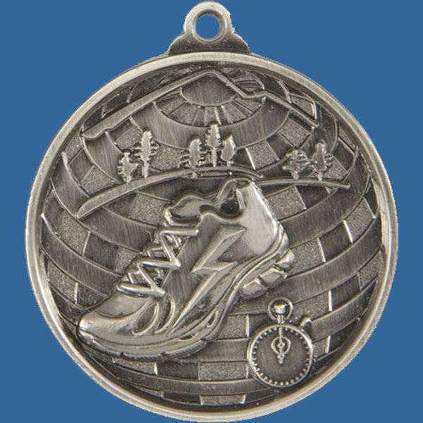Cross Country Global Series Medal - 5mm Thick Antique Silver 50mm Medal Neck Ribbon included