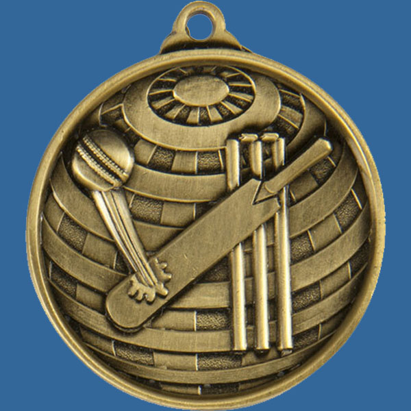 Cricket Global Series Medal - 5mm Thick Antique Gold 50mm Medal Neck Ribbon included