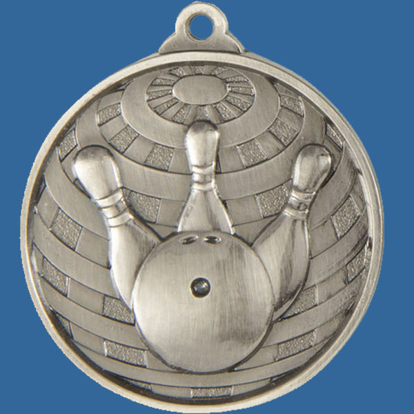 Tenpin Bowling Global Series Medal - 5mm Thick Antique Silver 50mm Medal Neck Ribbon included