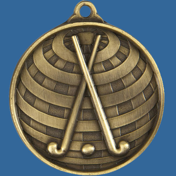 Hockey Global Series Medal - 5mm Thick Antique Gold 50mm Medal Neck Ribbon included