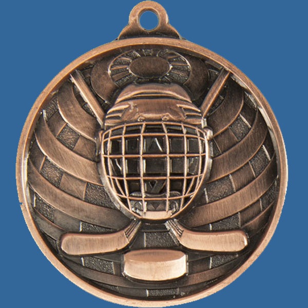Ice Hockey Global Series Medal - 5mm Thick Antique Bronze 50mm Medal Neck Ribbon included