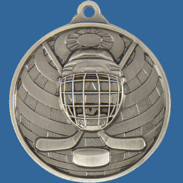 Ice Hockey Global Series Medal - 5mm Thick Antique Silver 50mm Medal Neck Ribbon included