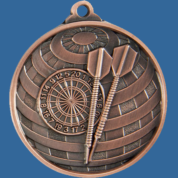Darts Global Series Medal - 5mm Thick Antique Bronze 50mm Medal Neck Ribbon included